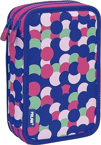 MILAN Plumier 2 Pisos Con Contenido Dotty Estuches, 20 cm, Rosa: Amazon.es: Ropa y accesorios