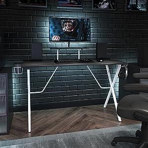 Flash Furniture Gaming Desk - Black/White Computer Desk - 51.5