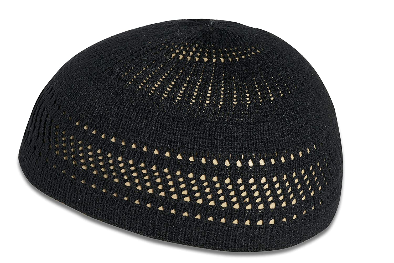 Muslim bookmark elastic cap Kufi skull cap with cool design and stripes.