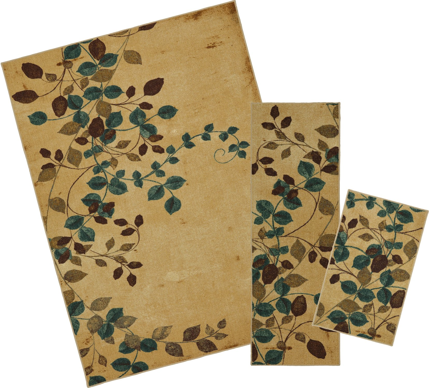 Mohawk Home Soho Plum Vine Floral Printed Area Rug Set, Set Contains: 1'6x2'6, 1'8x5' and 5'x7'