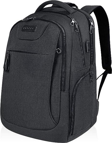 KROSER Laptop Backpack 15.6 Inch Stylish School Computer Backpack with USB Charging Port Water-repellent College Daypack Travel Business Work Bag for Women//Men-Black