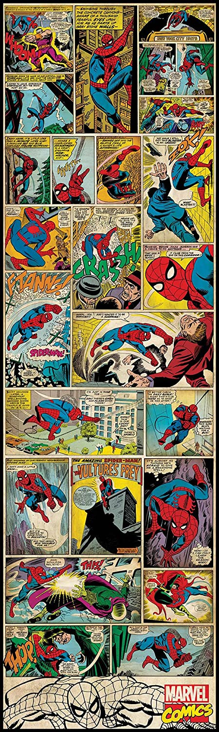 Amazon.com: RoomMates RMK2358SLG Marvel Comic Panel, Spiderman Classic Peel  And Stick Giant Wall Decal: Home Improvement