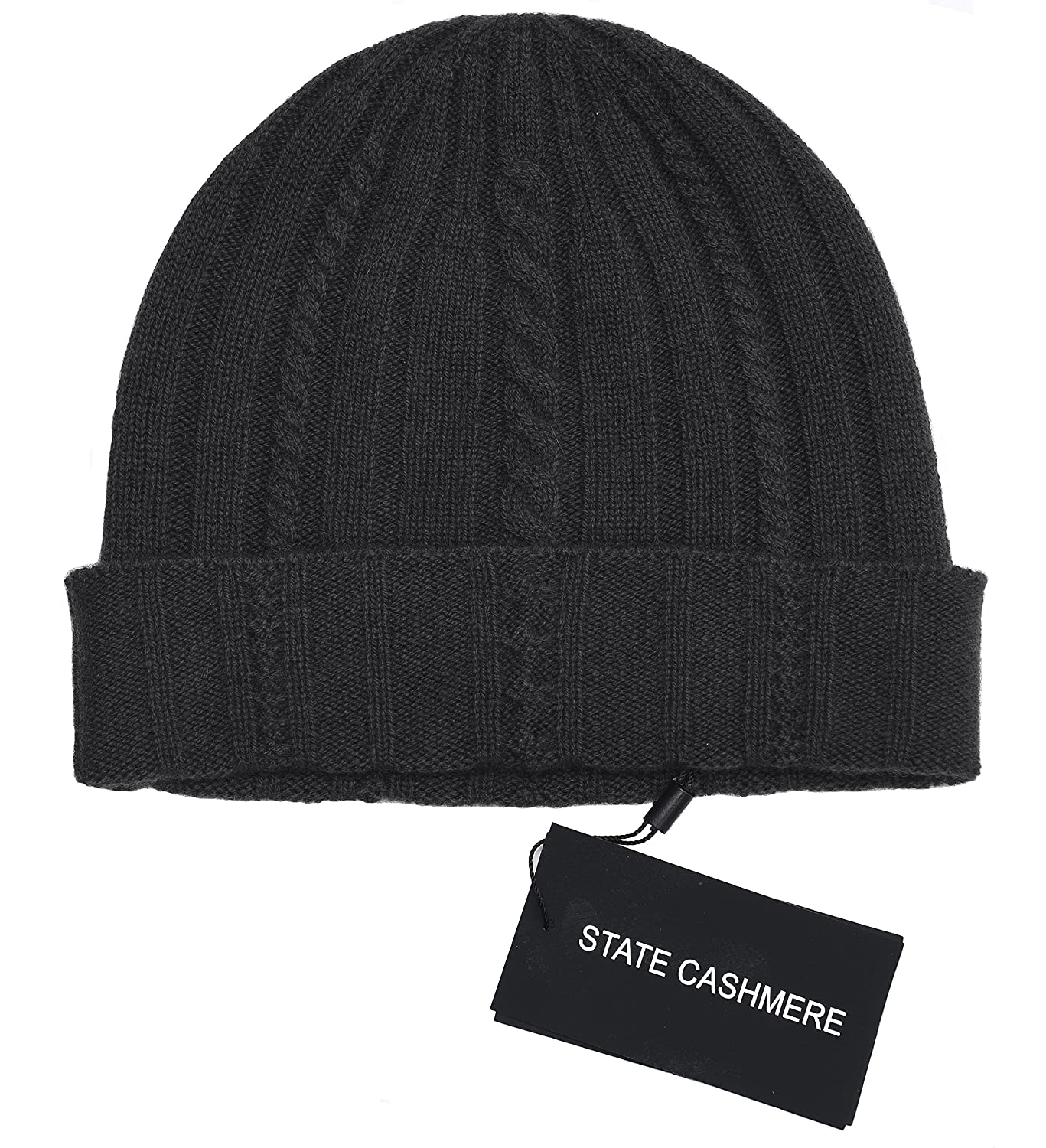 a8df895b004 State Cashmere 100% Pure Cashmere Cable Knit Beanie Hat - Ultimate  Soft