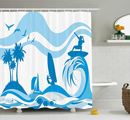 Ambesonne Aquatic Shower Curtain Surfer On Waves Water Sports Recreation Palms Sea Sailboats Summertime Holiday