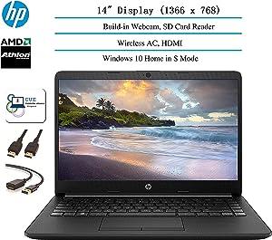 2020 HP 14 inch HD Laptop Newest for Business and Student, AMD Athlon Silver 3050U (Beat i5-7200U), 802.11ac, WiFi, Bluetooth, HDMI, Windows 10 + CUE Accessories (8GB RAM | 256GB SSD)