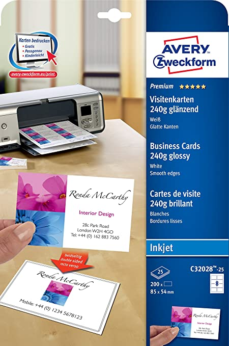 Avery Zweckform C32028 25 Premium Visitenkarten 200 Stück 85 X 54 Mm Beidseitig Bedruckbar Glänzend 25 Blatt