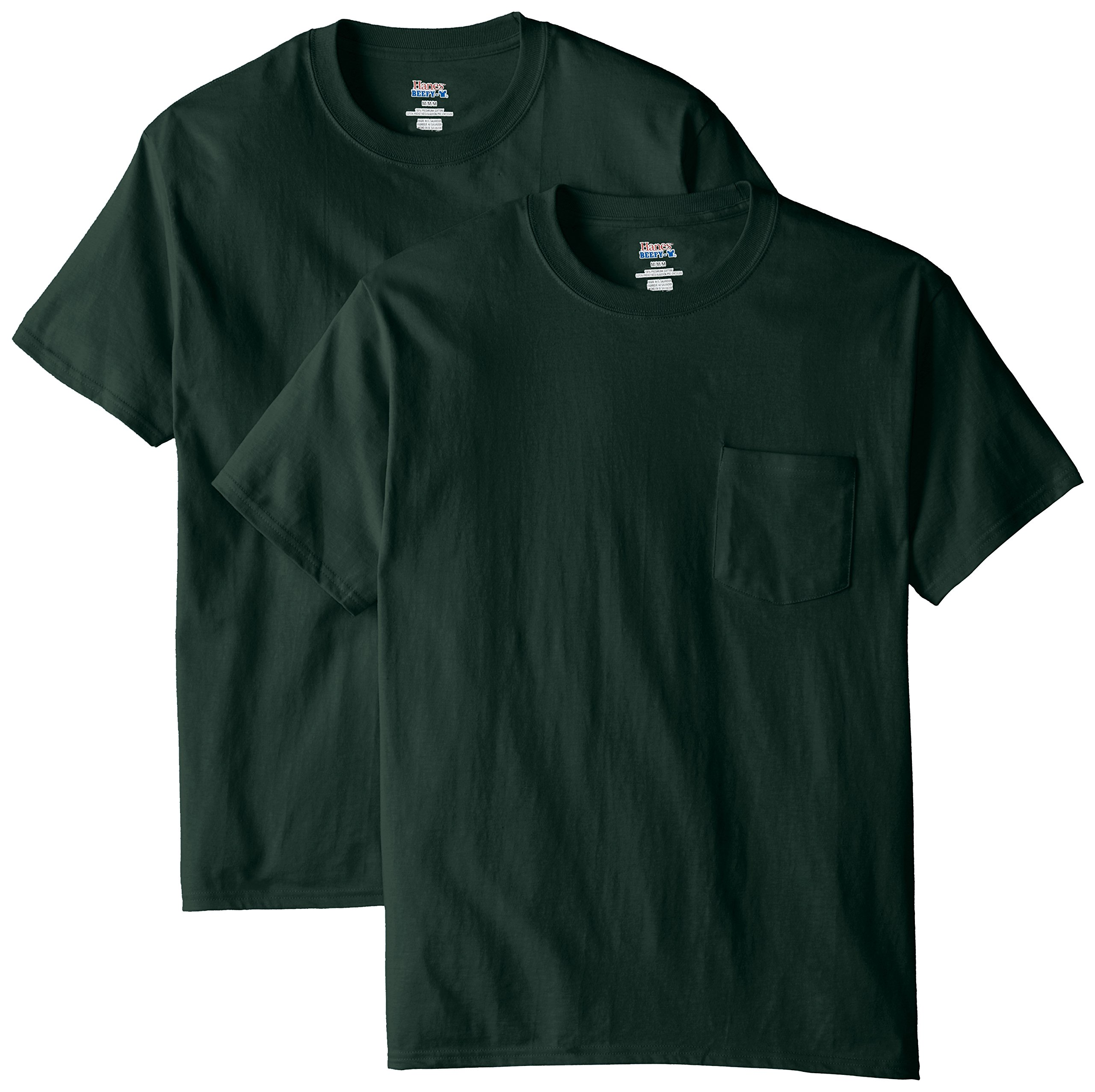 Hanes Men's 2 Pack Short Sleeve Pocket Beefy-T, Deep Forest, Small