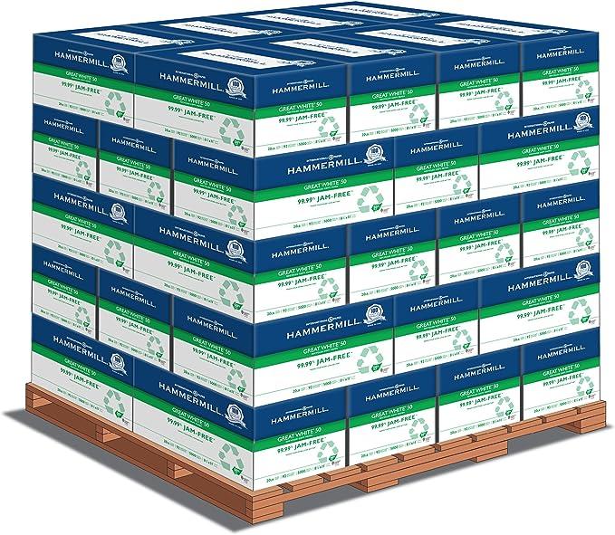 Hammermill Papel de impresora, gran libro blanco, 50% reciclado, 8,5 x 11, letra, 20 lb, 92 brillantes, 5000 hojas por cartón – 40 cajas por palé, 200.000 hojas (86780PLT), fabricado en los Estados Unidos: Amazon.es: Oficina y papelería