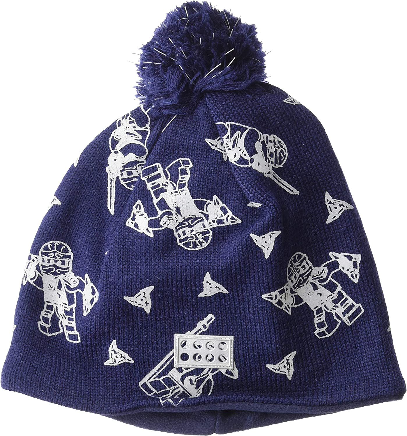 LEGO Wear Boys Kid's Fleece-Lined Wool Knit Printed Hat with Reflective Pom Pom & Detail: Clothing