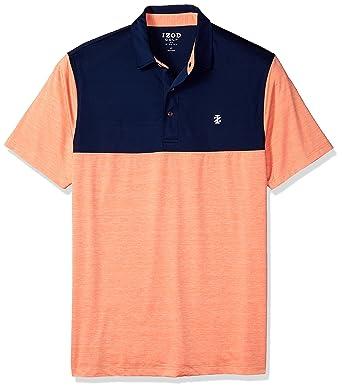 f4ff27922 Amazon.com: IZOD Men's Big and Tall Golf Title Holder Short Sleeve Polo,  Block Sour Orange, 3X-Large: Clothing