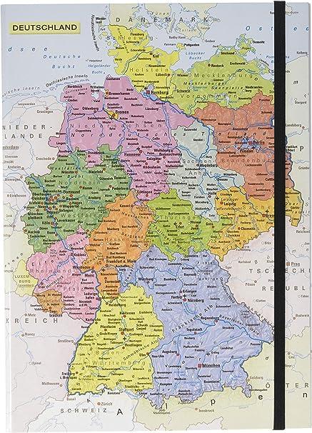 Pagna Heftbox Deutschlandkarte A4 3 Innenklappen Mit
