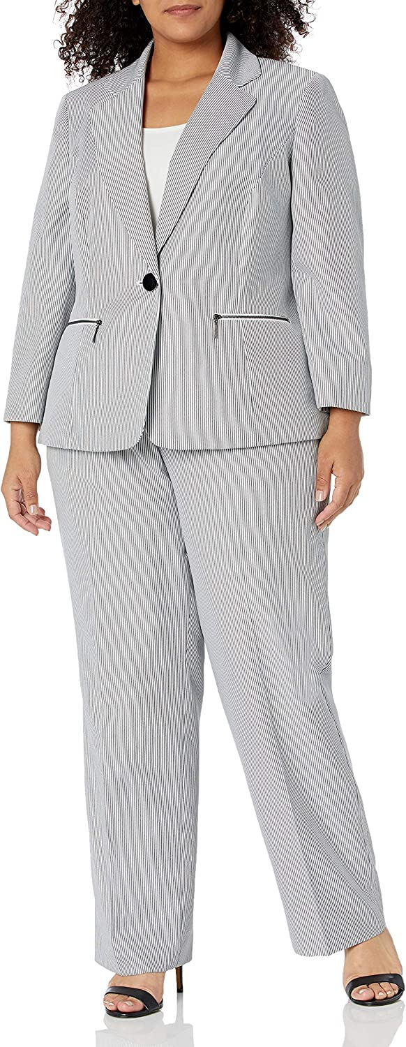 Le Suit Women's Plus Size 1 Button Notch Collar Whip Cord Stripe Pant Suit with Zipper Pocket Detail