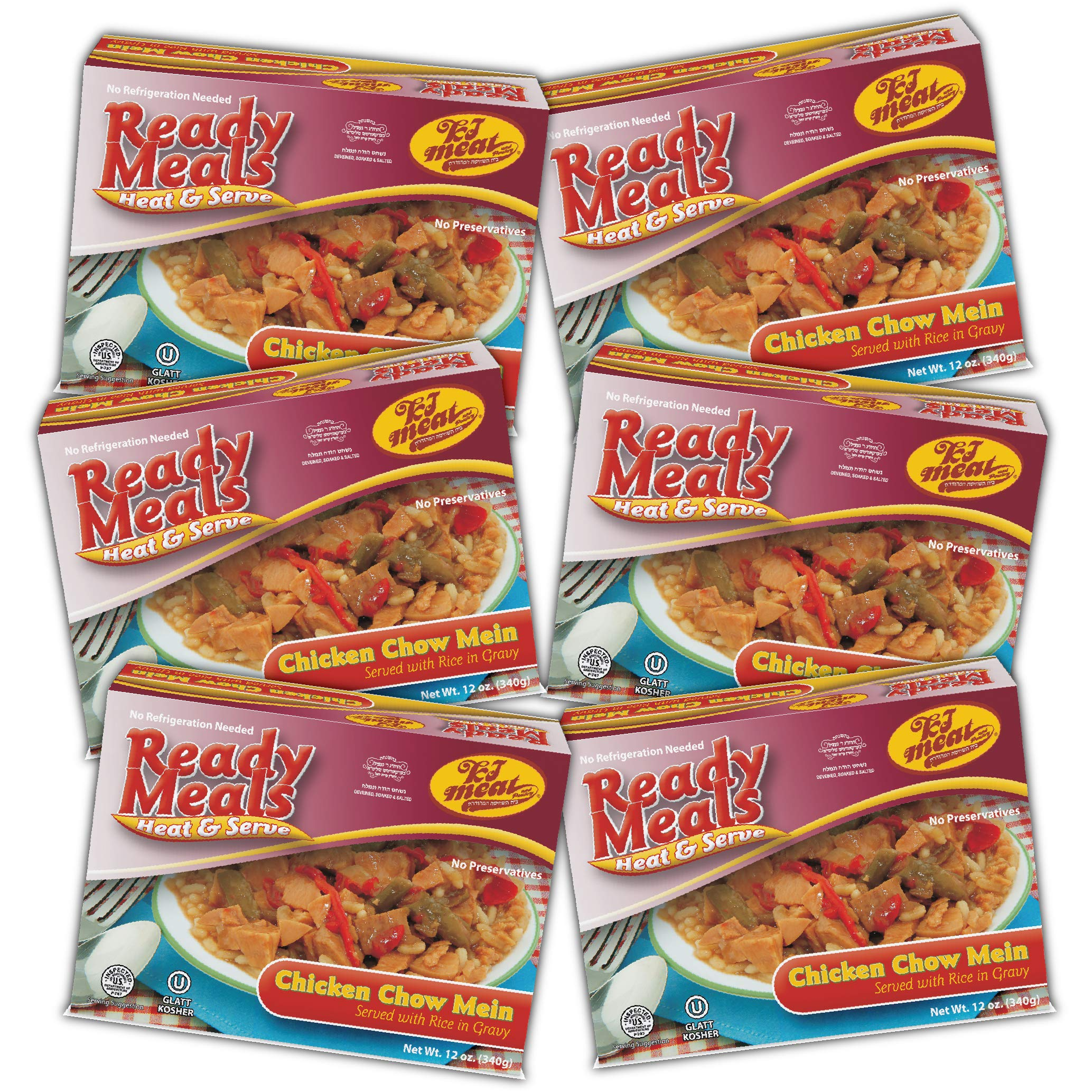 Kosher Meals Ready to Eat, Kosher Chicken Chow Mein Served with Rice in Gravy (Microwavable, Shelf Stable) - Gluten Free, Dairy Free, Egg Free - Glatt Kosher (12 ounce - Pack of 6) by KJ Poultry