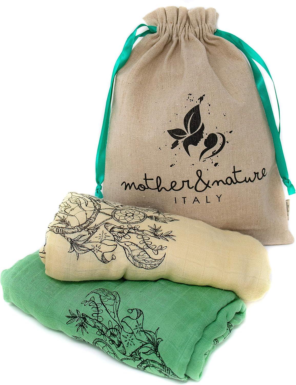 Mother&Nature Italy– Muselinas Bebe 120x120 Bambu Organico – Manta De Muselina 100% Bambu Natural Superior Al Algodon – Mantas Bebé Multiusos Para Todas Las Estaciones – Colección Eco Premium