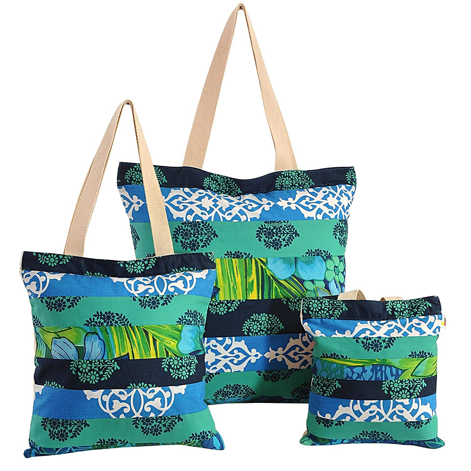 with Zipper Closing and design patche 3 pcs Set Shopping Bag Applique Patchwork