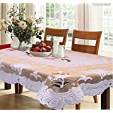Kuber Industries Dining Table Cover Cream Cloth Net For 6 Seater 60*90 Inches (Exclusive Floral Design) Table Cloths at amazon