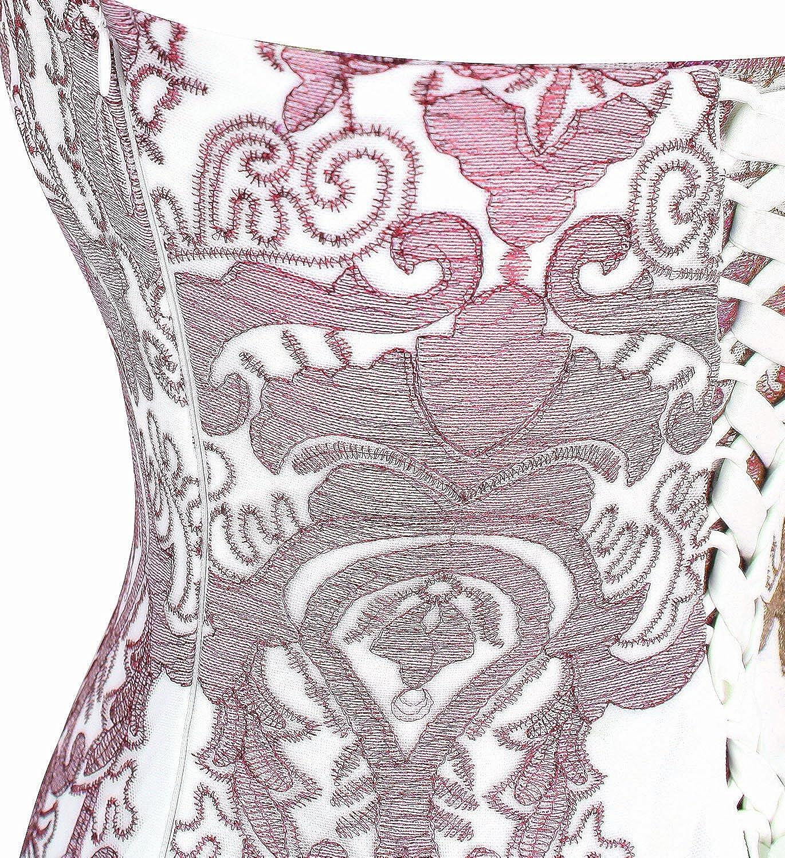 Stickerei transparent lang Cocktailkleid Angel-fashions Damen Schatz Blumen