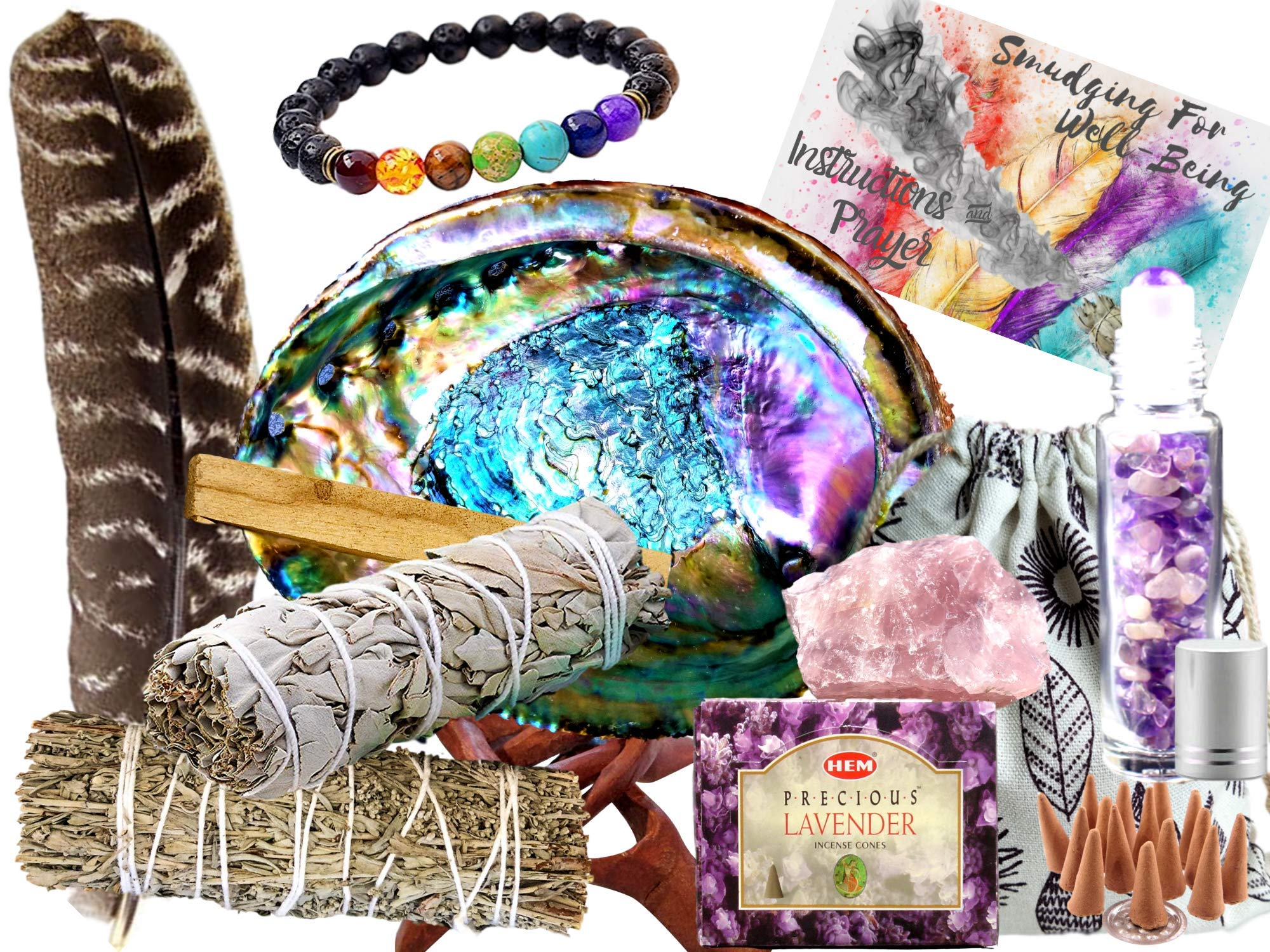 Sage Smudge Kit: ULTIMATE 12 Piece Spiritual Gifts Variety Smudging Kit: XL Abalone Shell, White Sage & Blue Sage Smudge Sticks, Palo Santo, Healing Crystals Amethyst Roller,Chakra Bracelet,More! by Worldly Finds