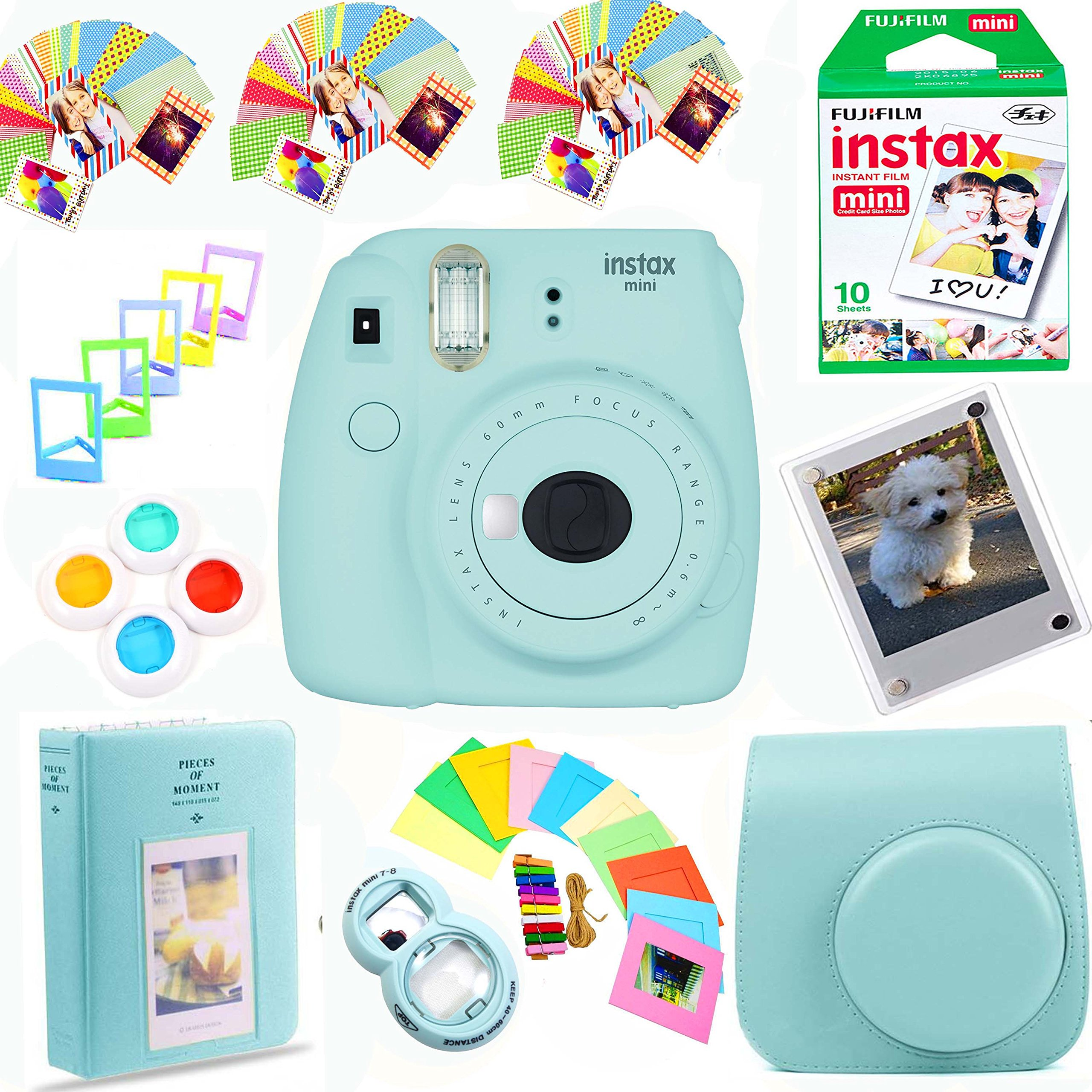 Fujifilm Instax Mini 9 Instant Film Camera (Ice Blue) + Instax Film (10 Shots) + Photix Pleather Case + 64 Pocket Album+ Photix Self-Standing Frames + Stick-on Frames Exclusive Instax Design Bundle by The Tech Expert