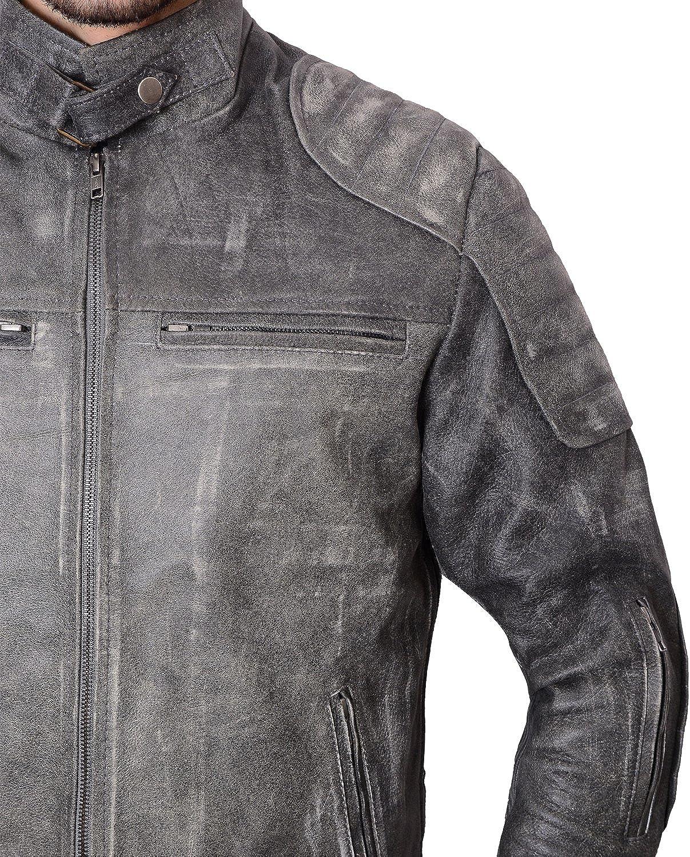 Abbraci Men/'s Belted Collar Padded Shoulder Sleeves Slim Fit Distressed Blackish Retro Leather Jacket