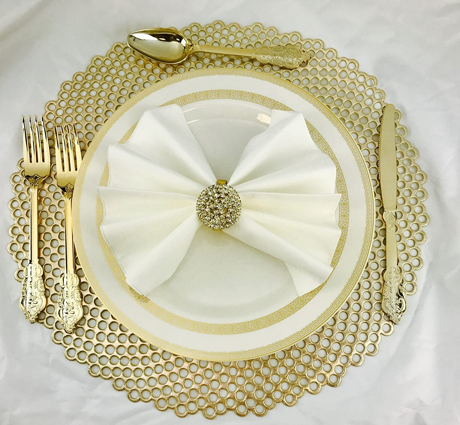 OCCASIONS 40 PACK Pressed Vinyl Metallic Placemats//Charger//Wedding Accent Centerpiece 40 pcs, Round Gold Leaf /… OCCASIONS FINEST PLASTIC TABLEWARE