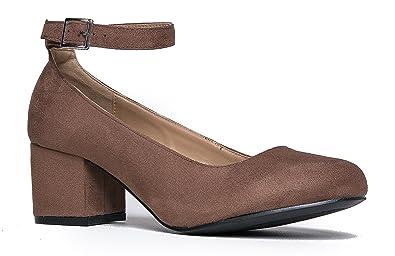 167798efabd5 J. Adams Low Round Toe Ankle Strap Heel - Comfortable Chunky Block Heel  Sandal -
