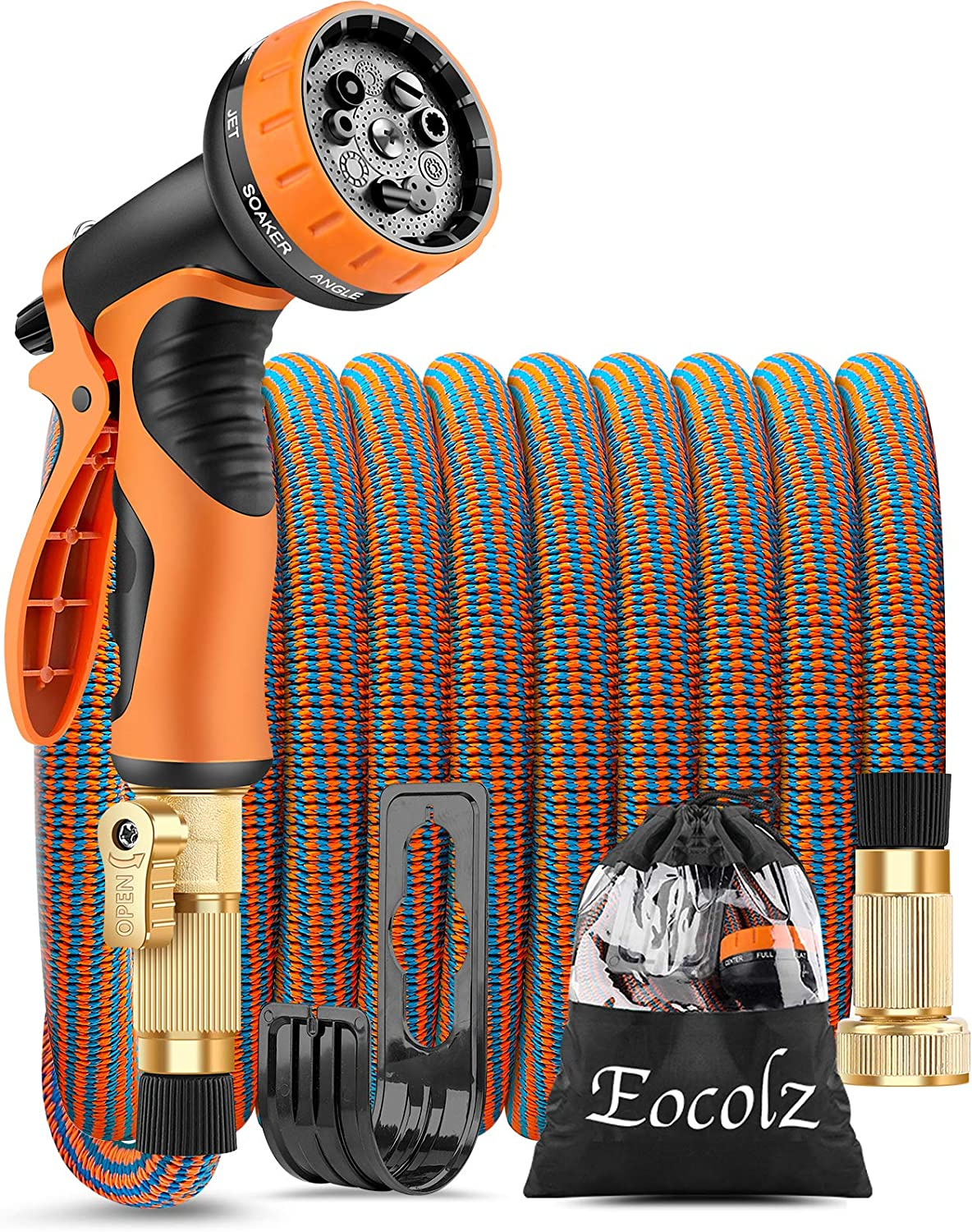 Eocolz Expandable Garden Hose 75ft Flexible Water Hose Leakproof with Durable No-Kink Solid Brass Fittings 3-Layers Latex Extra Strength Fabric Lightweight Expanding Hose Pipe for Watering Washing