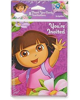 Amazoncom Dora Birthday Invitations and Thank You Cards Kitchen