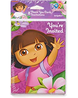 Amazon dora birthday invitations and thank you cards kitchen american greetings dora the explorer invite and thank you combo pack 8 count party supplies filmwisefo