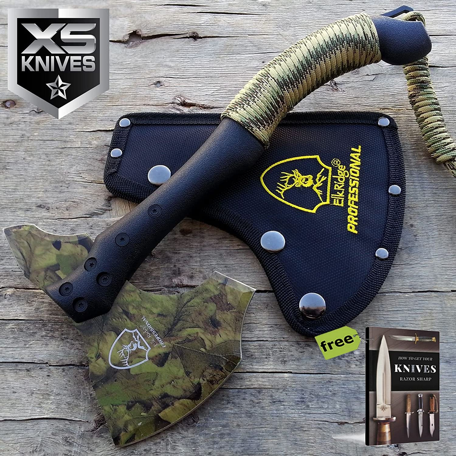 "11"" Tactical CAMO COATED Tomahawk Battle Hatchet Camping Survival Hunting Axe + Free eBook by SURVIVAL STEEL 911qgFuQbFLSL1500_"