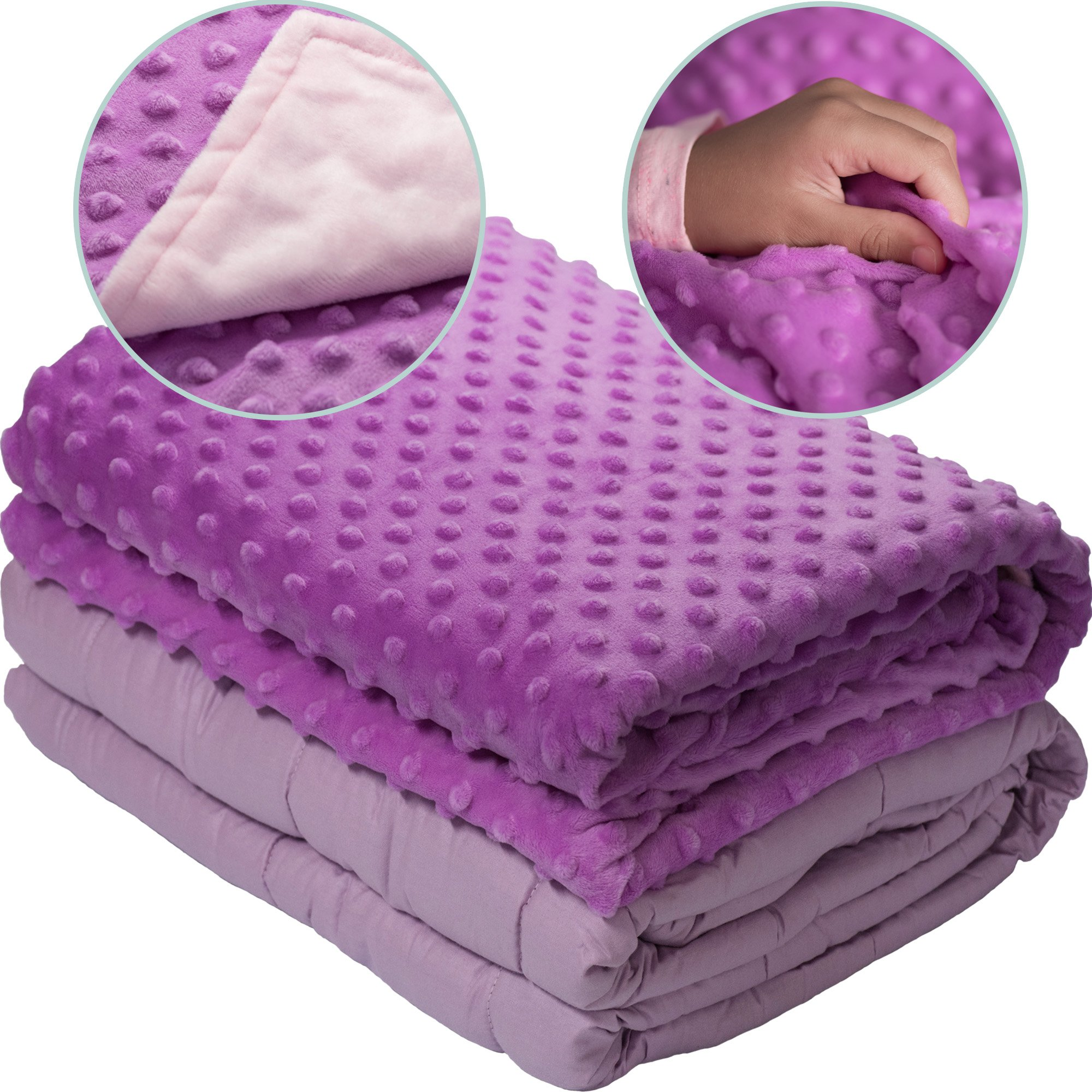 5lb Weighted Blanket with Dot Minky Cover for Kids 40-60lb Individual.Help Children with Sleep Issues Anxiety Stress Insomnia (Inner Light Violet/Cover Violet & Pink, 36''x48'' 5 lbs) by Loved Blanket (Image #3)