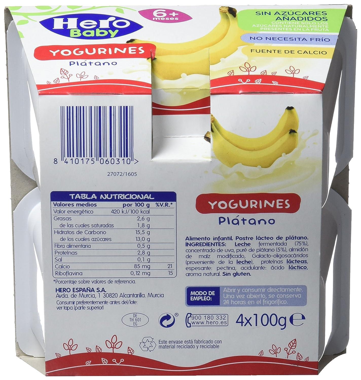 Hero Baby Yogurines Plátano - Paquete de 4 x 100 gr - Total: 400 gr: Amazon.es: Amazon Pantry