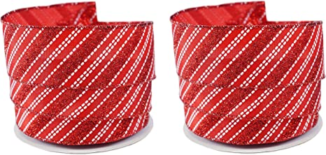 CHRISTMAS 2.5/'/'X 10 YARDS RED//DOTS//STRIPES ON SATIN NEW-ROMAN,INC