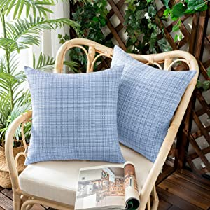 Woaboy Set of 2 Outdoor Waterproof Throw Pillow Covers Decorative Farmhouse Water Resistant Solid Cushion Cases for Patio Garden Sofa Chairs Light Blue 18x18 inch