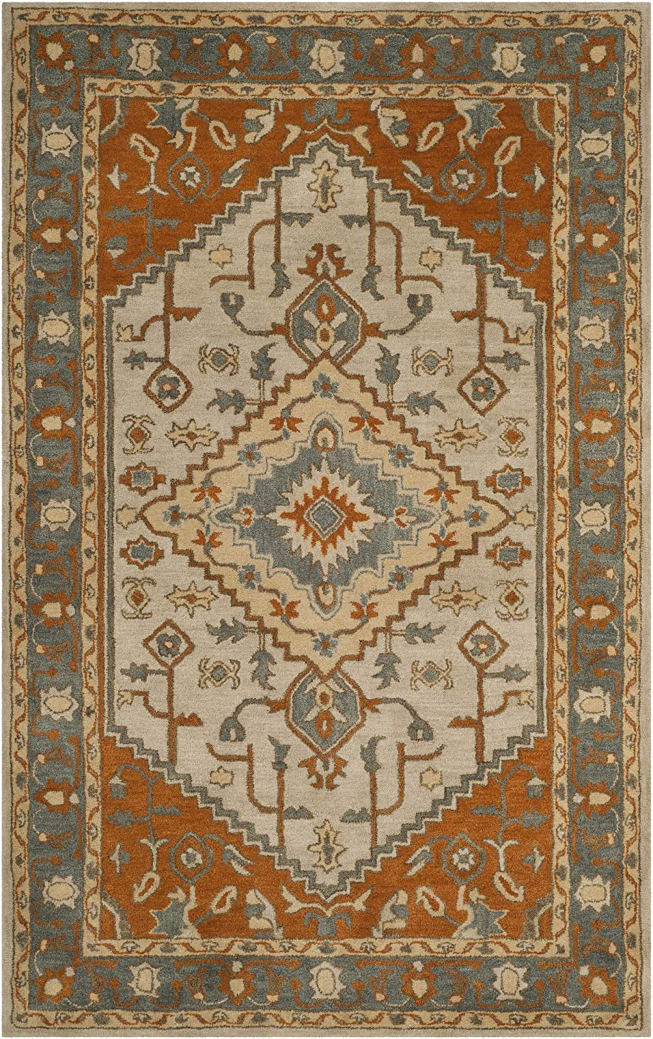 Safavieh Heritage Collection HG406A Light Blue and Rust Area Rug (3' x 5')