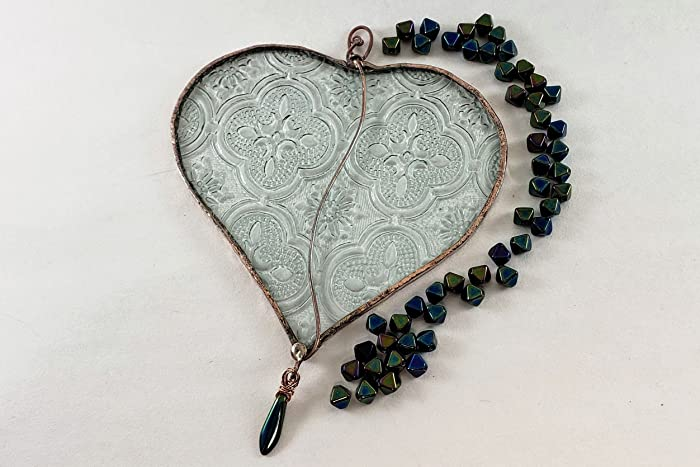 amazon com handmade stained glass clear textured beaded heart