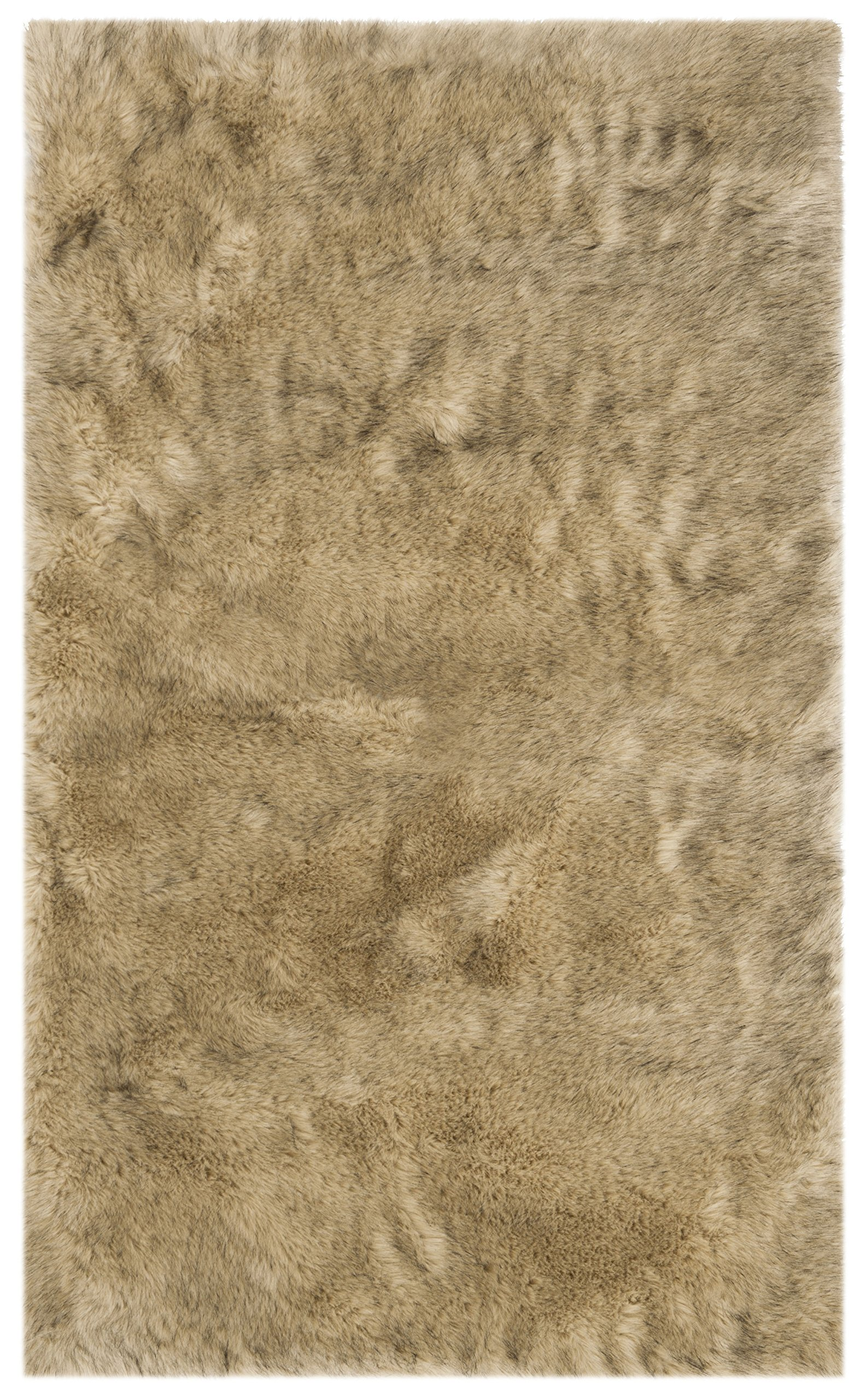 Safavieh Faux Silky Sheep Skin Collection FSS438B Light Grey and Black Area Rug (3' x 5')