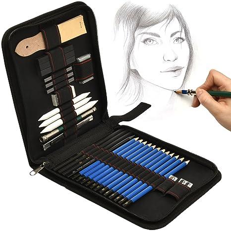 Artina Set de lápices de Dibujo Bari 33 Piezas Estuche con Set de lapiceros, grafitos para carboncillo, bocetos,esbozos, bosquejos fantástico