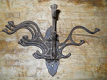 4 Cast Iron HEAVY DUTY Style Coat Hooks Hat Hook Rack Hall Tree Restoration