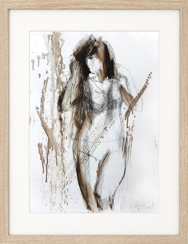 Amazon com original charcoal sketch nude wall art woman abstract drawing living room decor handmade