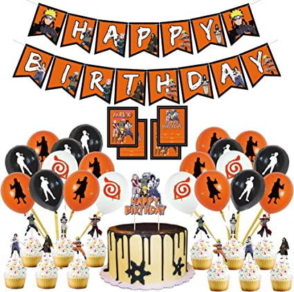 Amazon Com Naruto Birthday Party Supplies Naruto Party Include Ninja Cartoon Happy Birthday Banner Latex Balloons Cake Topper And Invitation Cards For Boys Japanese Anime Theme Party Favor By Threemao Toys Games