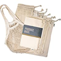 Ecoture Eco Friendly Reusable Produce Bags in Mesh and Muslin for Fruit and Vegetable Storage | Bonus Mesh Grocery…