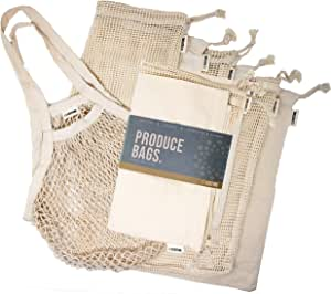 Ecoture Eco Friendly Reusable Produce Bags in Mesh and Muslin for Fruit and Vegetable Storage   Bonus Mesh Grocery Shopping Bag   Lightweight Premium Organic Cotton, Zero-Waste, Washable, See-Through