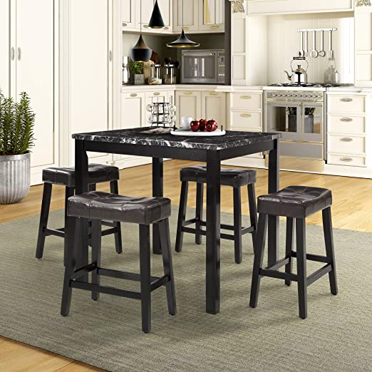 5 Piece Counter Height Dining Set Kitchen Table Furniture Set with 4 Chairs  Dining Room Table and Bar Stools (Black)