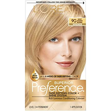 Lu0027Oréal Paris Superior Preference Permanent Hair Color, 9G Light Golden  Blonde