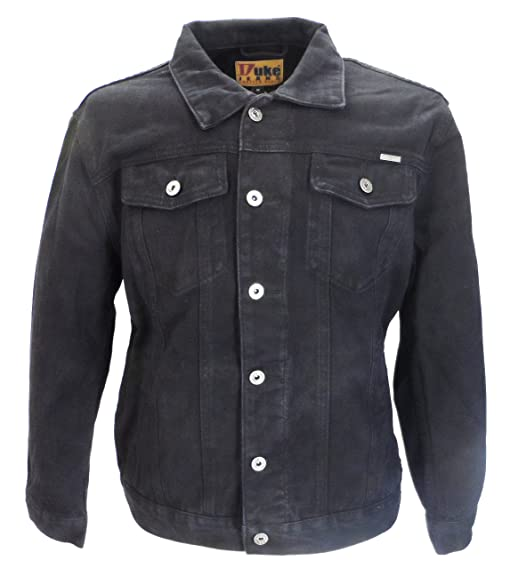 Mens Duke Black Denim Jacket: Amazon.co.uk: Clothing