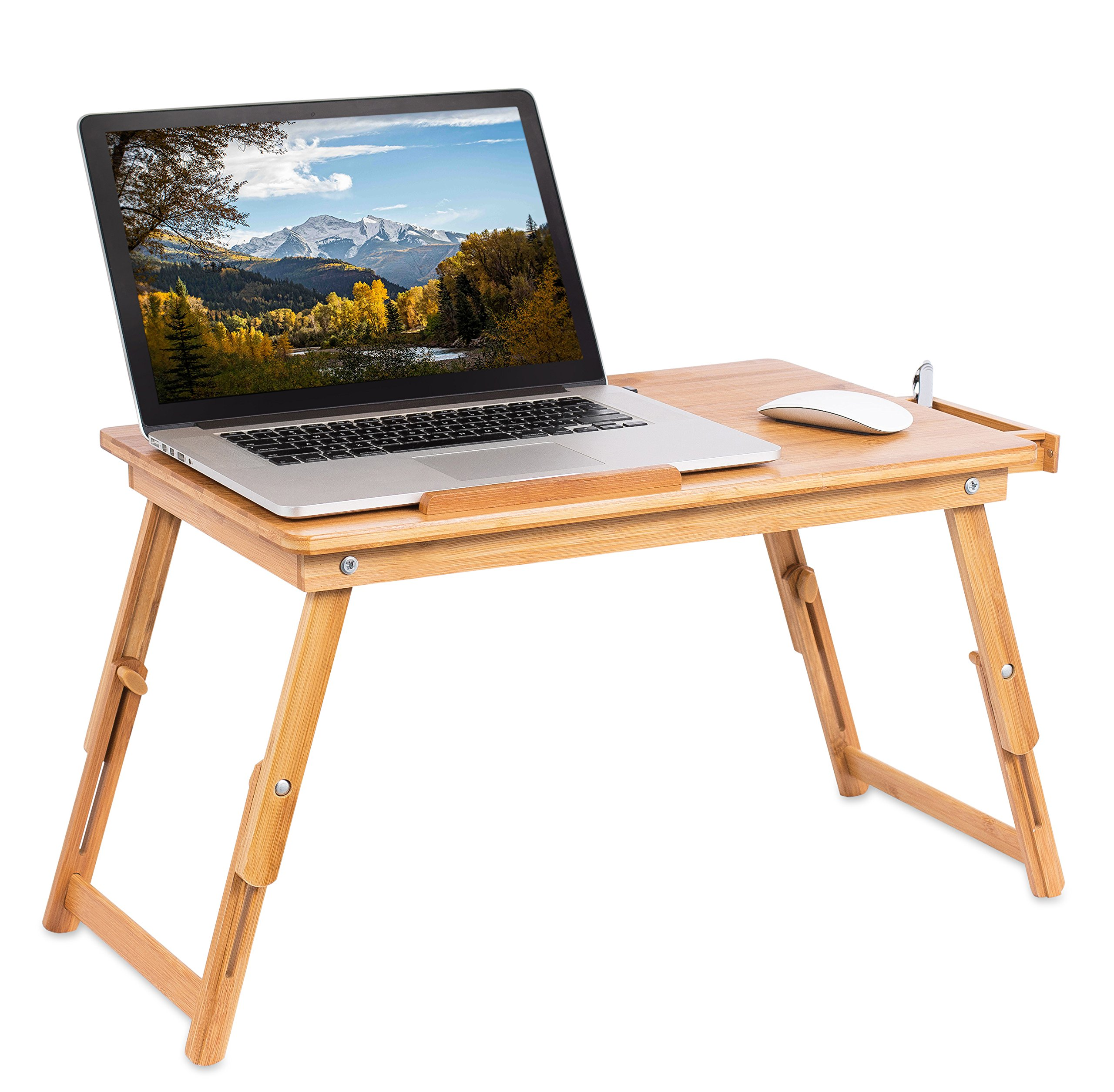 Sofia + Sam Laptop Lap Tray with Adjustable Legs | Bamboo | Foldable Breakfast Serving Bed Tray | Lap Desk with Tilting Top and Side Drawer | Laptop Stand | Natural by Sofia + Sam (Image #3)