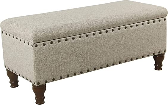 Amazon Com Benjara Textured Fabric Upholstered Wooden Storage Bench With Nail Head Trim Large Beige And Brown Furniture Decor