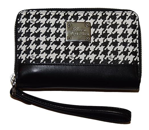 Polo Ralph Lauren Womens Clutch Wristlet Wallet Strap Houndstooth Black  White