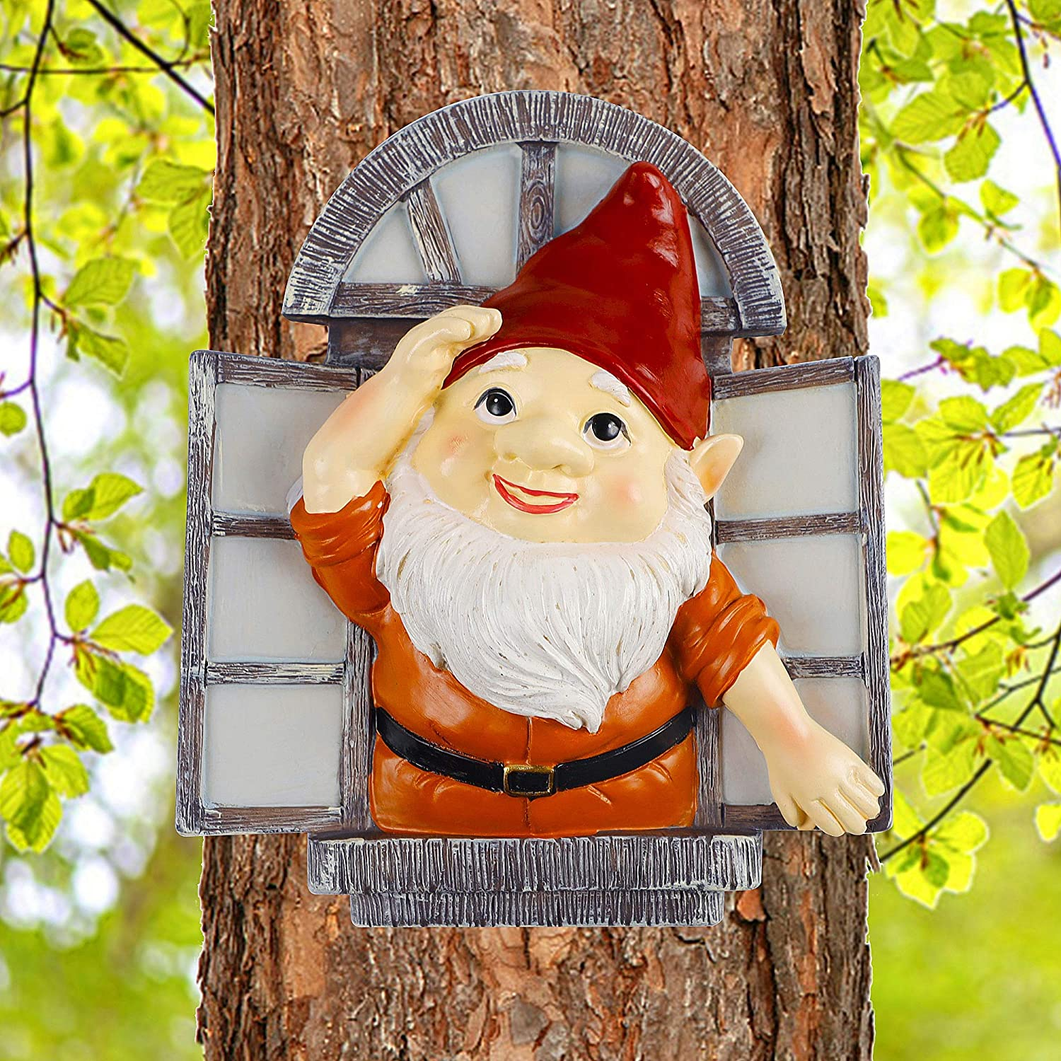 Juegoal Gnome Tree Hugger, Miniature Christmas Fairy Elf Open The Window Garden Peeker Yard Art for Tree, Outdoor Whimsical Tree Sculpture Christmas Garden Decoration